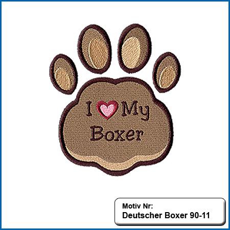 Hunde Motiv Deutscher BoxerPfote Motiv gestickt Stickerei Boxer Pfoten gestickt