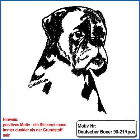 Hunde Motiv Deutscher Boxer Kopf gestickt Stickerei Boxer sticken Boxer Hundemotiv