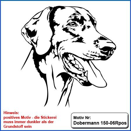Hunde Motiv Dobermann Motiv gestickt Stickerei Dobermann gestickt