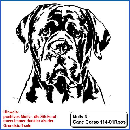 Cane Corso Hunde Motiv sticken Cane Corso Stickerei T-Shirt sticken mit Cane Corso