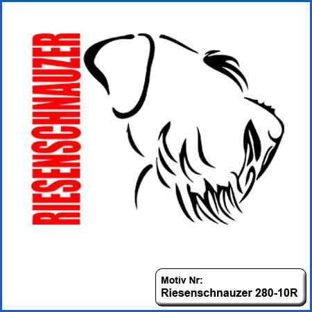 Hunde Motiv Riesenschnauzer stehend Motiv gestickt Stickerei Riesenschnauzer Riese gestickt
