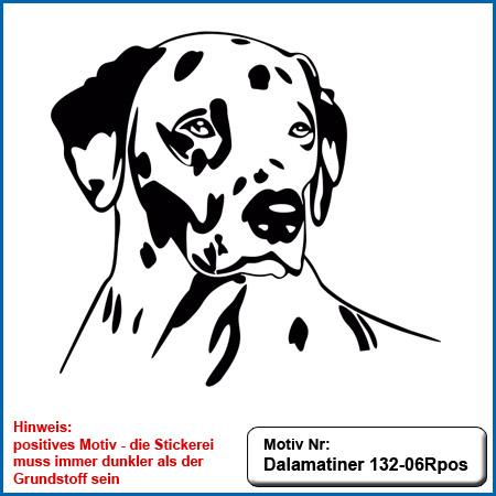 Hundemotiv Dalmatiner Dalmatiner Kopf sticken Dalmatiner gestickt Stickerei Dalmatiner auf Hundesport Bekleidung sticken