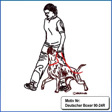 Hunde Motiv Deutscher Boxer bei Fuss gestickt Stickerei Boxer mehrfarbig gestickt