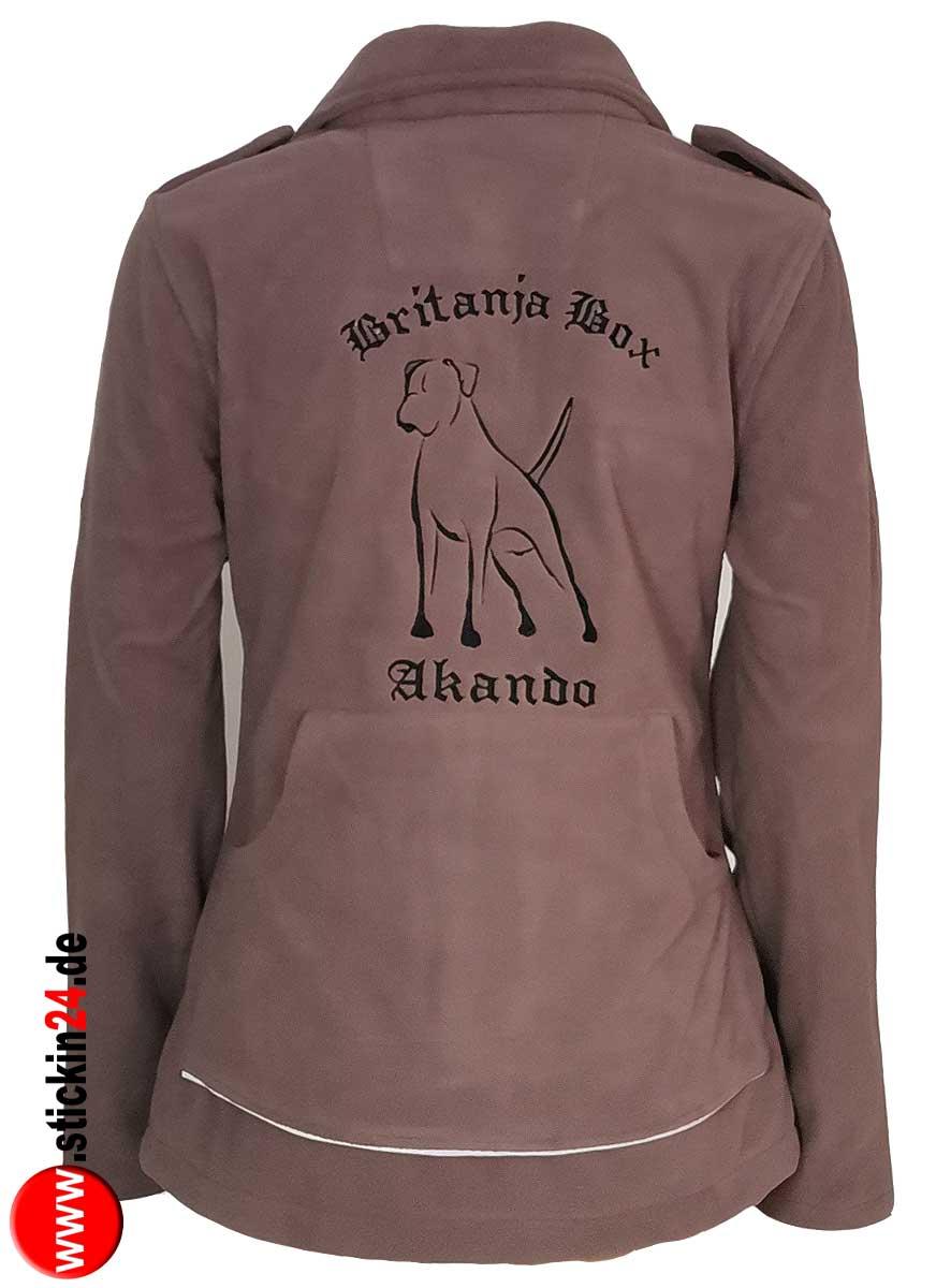 Damen Fleecejacke MORA von GoodBoy mit Hundemotiv Boxer besticken Stickerei Fleece Jacke MORA Fleecejacke mit Rückentasche selbst gestalten und  besticken lassen
