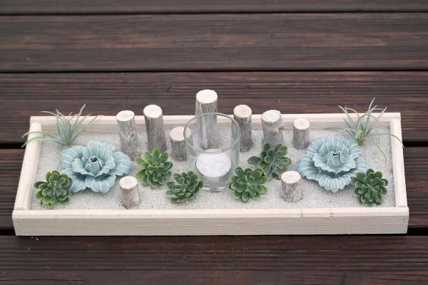 Tischgesteck - Glas Windlicht mit Gravur