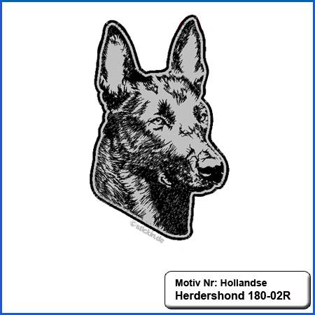 Hunde Motiv Großer Hollandse Herdershond  Stickerei Hollandse Herdershond  Kopf und Schriftzug sticken
