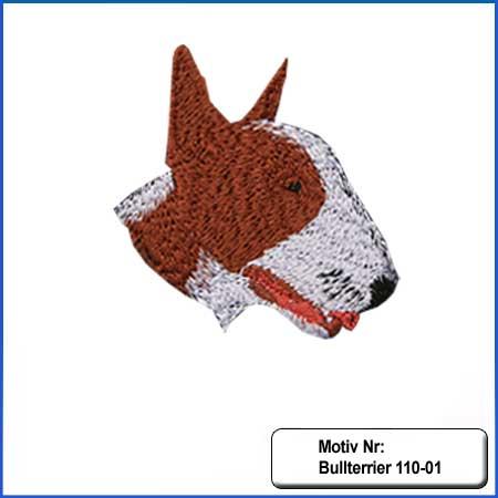 Hunde Motiv Bullterrier Motiv gestickt Stickerei Bull Terrier Kopf gestickt