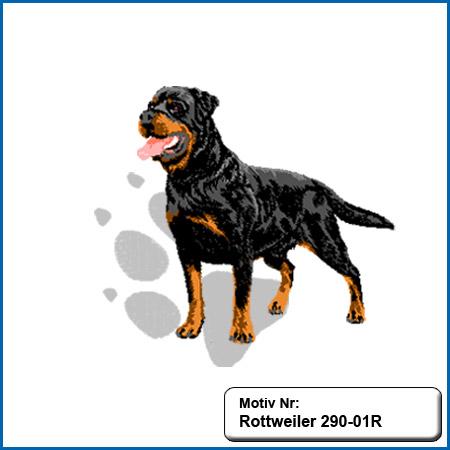 Hunde Motiv Rottweiler stehend gestickt Stickerei Rottweiler sticken Rottweiler Hundemotiv sticken