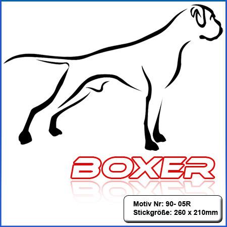 Hunde Motiv Deutscher Boxer stehend mit Schriftzug gestickt Stickerei Boxer sticken Boxer Hundemotiv