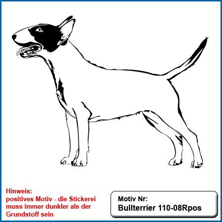 Hunde Motiv Bullterrier Motiv gestickt Stickerei Bull Terrier sticken Bullterrier stehend besticken