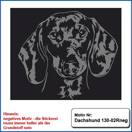Hunde Motiv Dachshund Stickerei Dachshund Kopf gestickt Teckel besticken