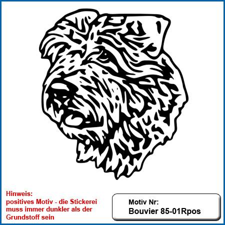 Hunde Motiv Bouvier Kopf gestickt Stickerei Bouvier sticken Hundesport Bekleidung mit Bouvier besticken