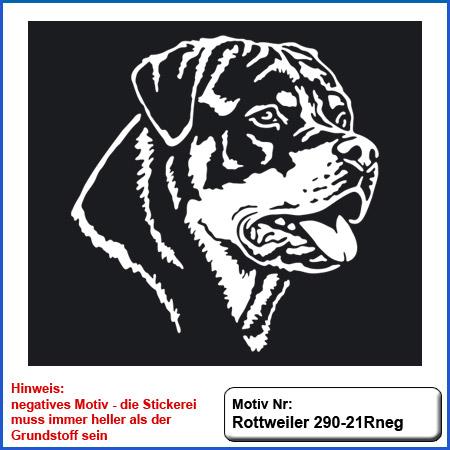 Hunde Motiv Rottweiler Kopf Motiv gestickt auf dunkle Textilien Stickerei Rottweiler Kopf einfarbig sticken