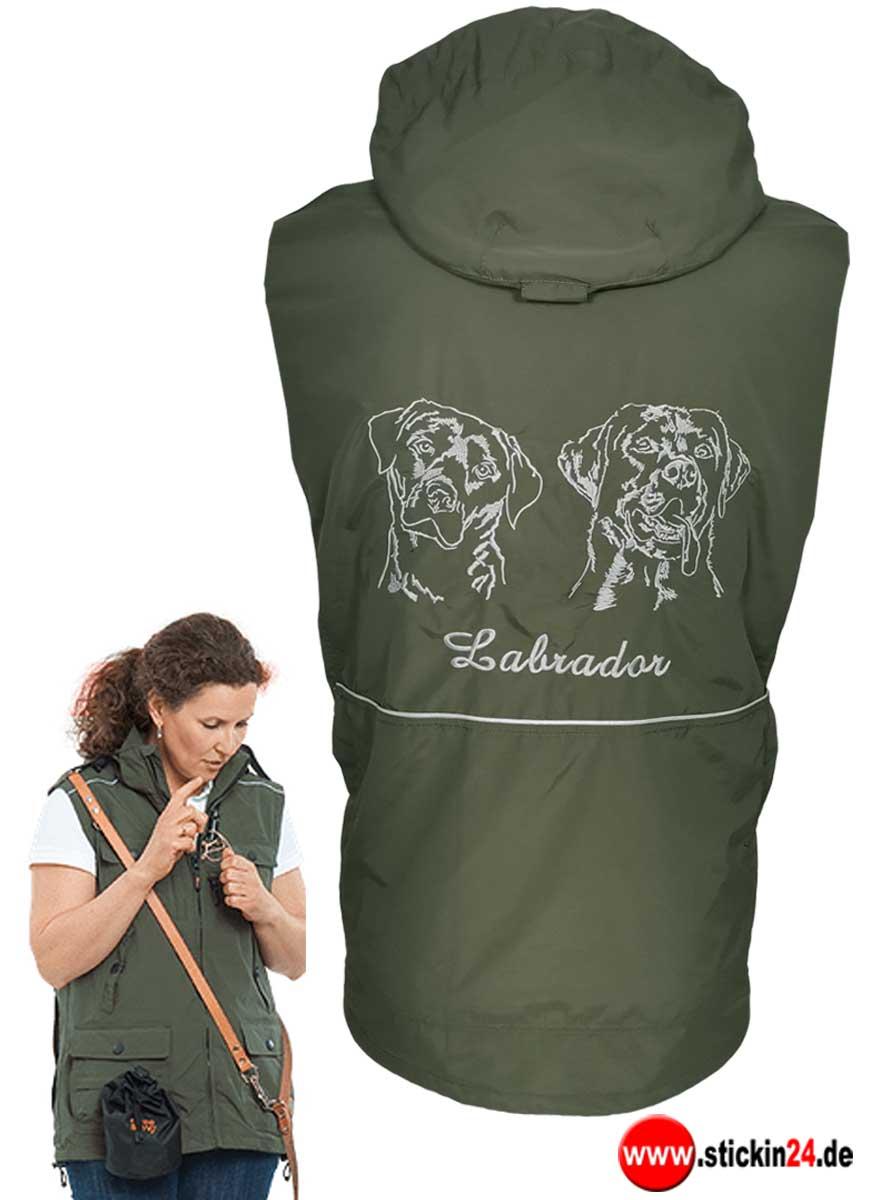 Weste GoodBoy Rocky mit Labrador Stickerei für Damen Hundesportweste mit Rückentasche besticken