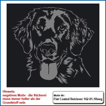 Hundemotiv Flat Coated Retriever Stickerei