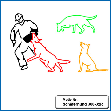 Hunde Motiv Schaeferhund Deutscher Schäferhund sticken gestickt Stickerei DSH Schäferhund mit Stock German Shepherd sticken