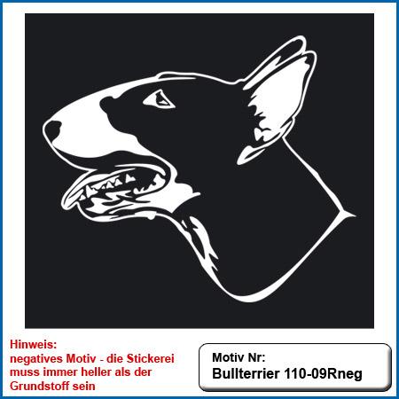 Hunde Motiv Bullterrier Motiv gestickt Stickerei Bull Terrier sticken Bullterrier stehend besticken Stickerei Bullterrier stehend auf dunkle Artikel Bullterrier Kopf sticken