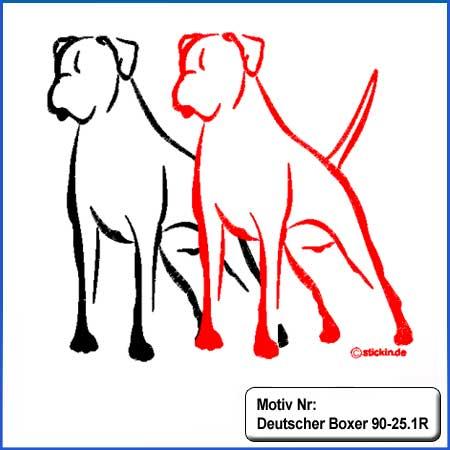 Hunde Motiv Deutscher Boxer stehend gestickt Stickerei Boxer mehrfarbig gestickt