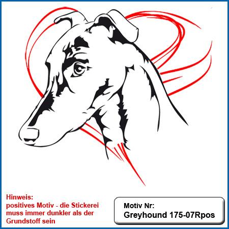 Hunde Motiv Greyhound Stickerei Greyhound mit Schriftzug sticken Hundebekleidung Hundesport Bekleidung mit Greyhound Hunde Motiv besticken