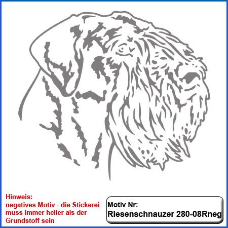 Hunde Motiv Riesenschnauzer Kopf Motiv einfarbig gestickt für dunkle Textilien Stickerei Riesenschnauzer Riese gestickt