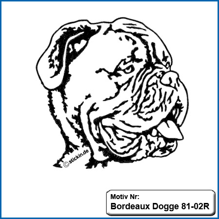 Hunde Motiv Bordeaux Dogge gestickt Stickerei Bordeaux Dogge Bordeuax Dogge sticken
