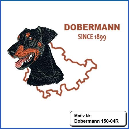 Hunde Motiv Dobermann Kopf Motiv gestickt Stickerei Dobermann gestickt