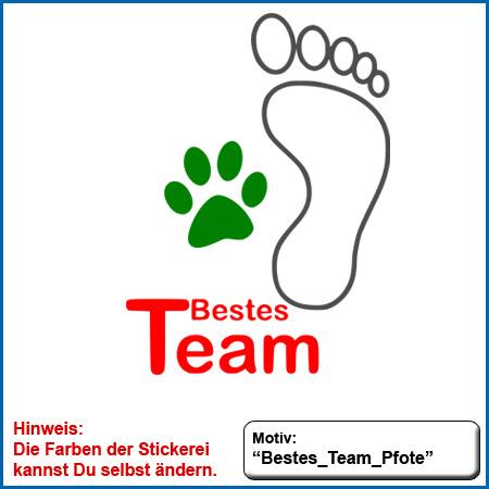 Hundemotiv Bestes Team mit Fuss und Pfote echt gestickt Stickerei Hundemotiv Bestes Team Fuss und Pfote