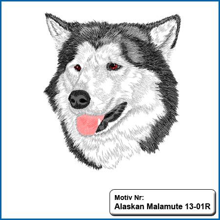 Hunde Motiv Alaskan Malamute Stickerei Husky sticken auf Bekleidung Hundesport Bekleidung mit Alaskan Malamute besticken