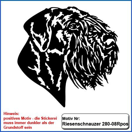 Hunde Motiv Riesenschnauzer Kopf Motiv einfarbig gestickt für helle Textilien Stickerei Riesenschnauzer Riese gestickt