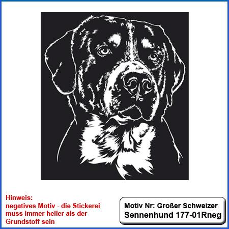 Hunde Motiv Großer Schweizer Sennenhund Stickerei Großer Schweizer Sennenhund Kopf einfarbig sticken