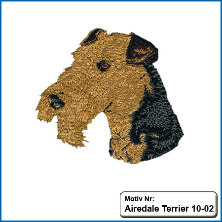 Airedale Terrier Kopf Airedale Terrier Hunde Motive Airedale Terrier Hundesport Airedale Terrier T-Shirt sticken