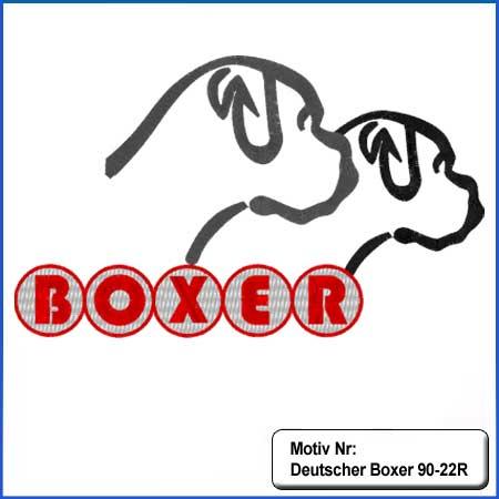 Hunde Motiv Deutscher Boxer 2 Kopfe Silouhette mit Schriftzug gestickt Stickerei Boxer sticken Boxer Hundemotiv