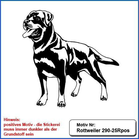 Hunde Motiv Rottweiler stehend gestickt Stickerei Rottweiler sticken