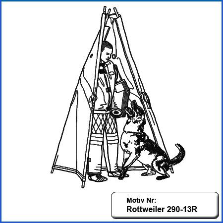Hunde Motiv Rottweiler IGP Schutzdienst Motiv gestickt Stickerei Rottweiler Schutzdienst Zelt Versteck verbellen sticken