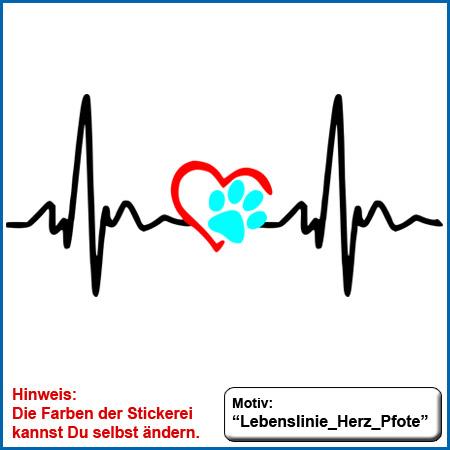 Hundemotiv Lebenslinie Herz Pfote gestickt echte Stickerei Hundemotiv Lebenslinie Herz Pfote Farben frei wählbar