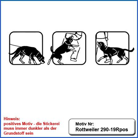Hunde Motiv Rottweiler IGP Motiv gestickt Stickerei Rottweiler Schutzdiens Fuss laufen suchen farbig sticken