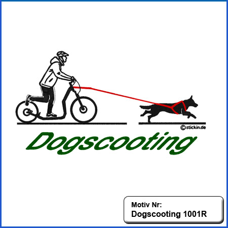 Hunde Motiv Dogscooting Dog Scooting Stickerei