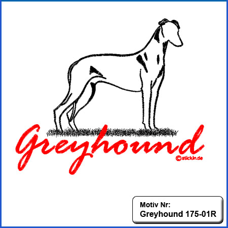 Hunde Motiv Greyhound Stickerei Greyhound mit Schriftzug sticken