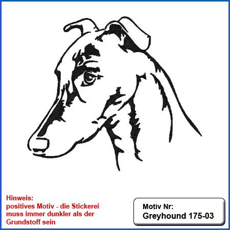 Hunde Motiv Greyhound Stickerei Greyhound mit Schriftzug sticken Hundesport Bekleidung mit Hunde Motiv Greyhound besticken