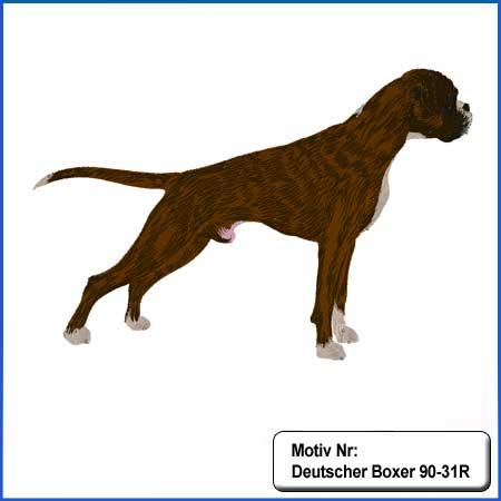 Hunde Motiv Deutscher Boxer gestromt stehend gestickt Stickerei Boxer Rüde sticken Boxer dunkelgestromt Hundemotiv