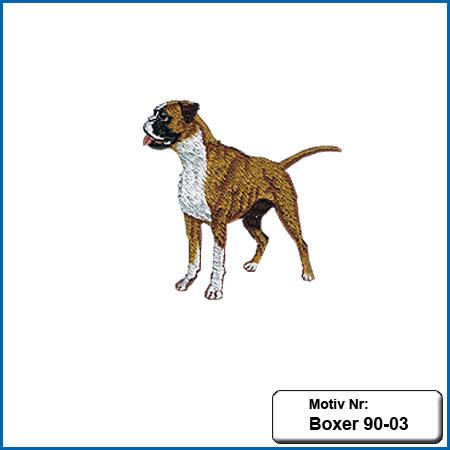 Hunde Motiv Deutscher Boxer stehend gestickt Stickerei Boxer sticken Bruststickerei Boxer Hundemotiv