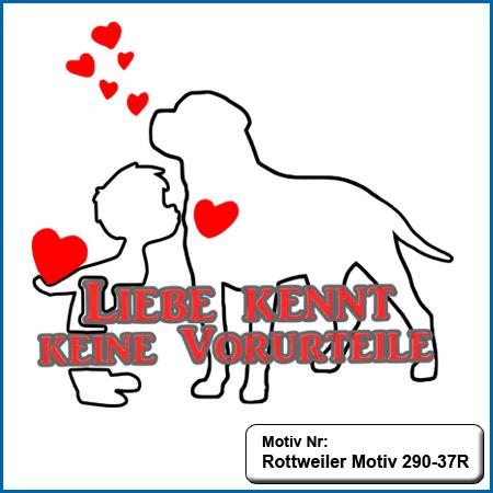 Hundemotiv Rottweiler mit Herz und kleiner Junge sticken echte Stickerei kein Druck Hunde Motiv Rottweiler mit Herz