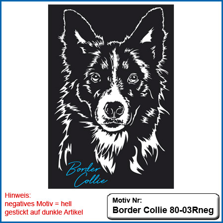 Hunde Motiv Border Collie gestickt Stickerei Border Collie Kopf