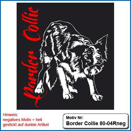 Hunde Motiv Border Collie gestickt Stickerei Border Collie hütend
