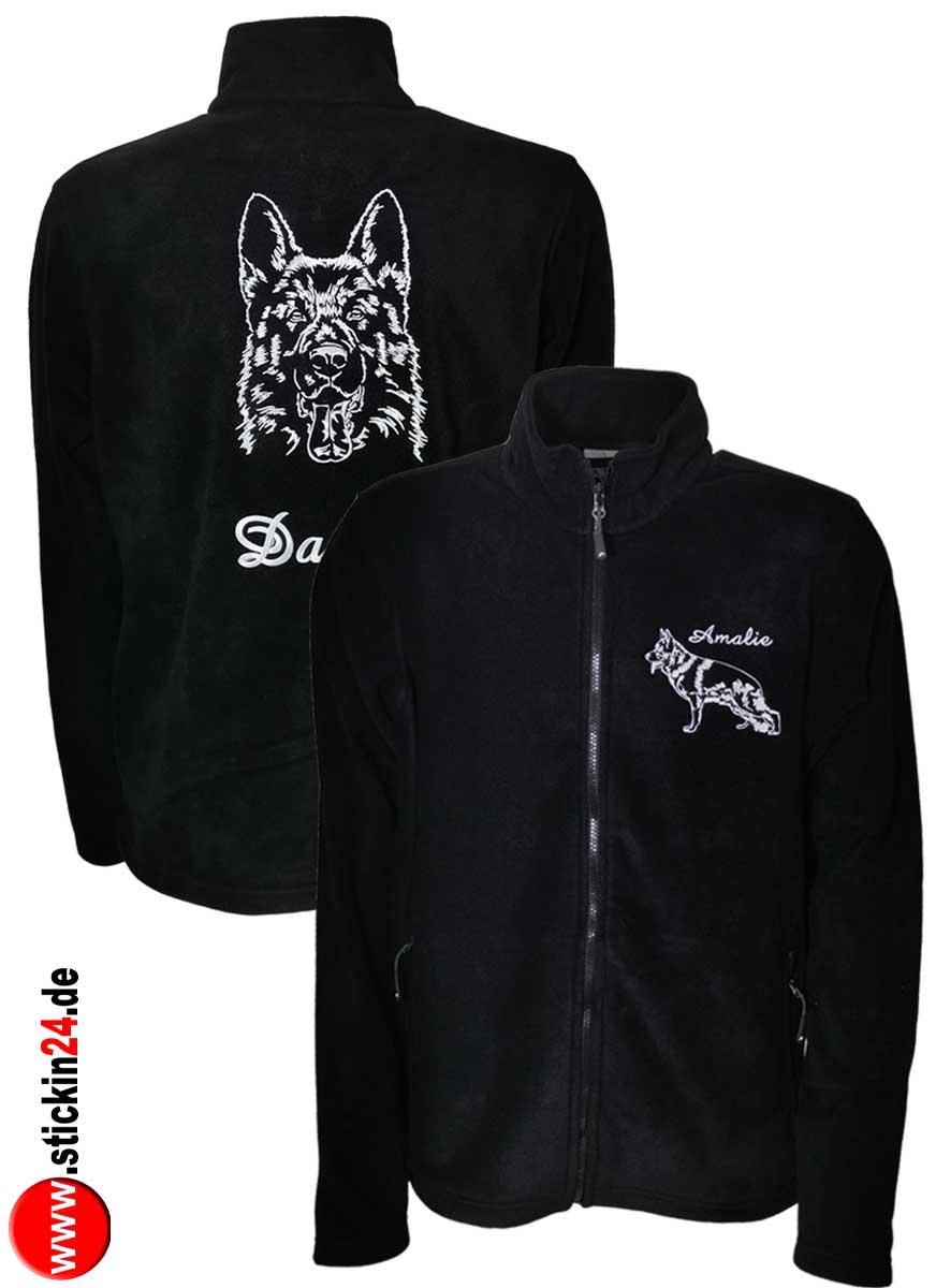 Männer Fleece Jacke Fleecejacke mit Deutscher Schäferhund Fleece Jacke mit Stickerei