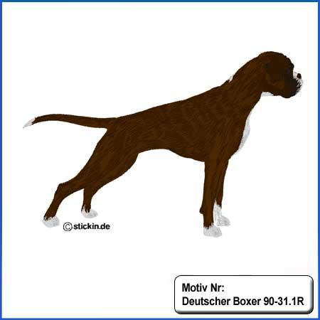 Hunde Motiv Deutscher Boxer gestromt stehend gestickt Stickerei Boxer Hündin sticken Boxer dunkelgestromt Hundemotiv