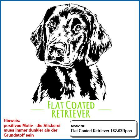 Hundemotiv Stickmotiv Flat Coated Retriever Stickerei