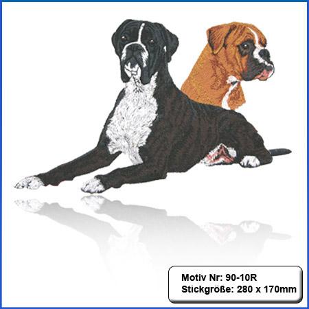 Hunde Motiv Deutscher Boxer gestromt gestickt Stickerei Boxer Kopf sticken Boxer gelb Hundemotiv