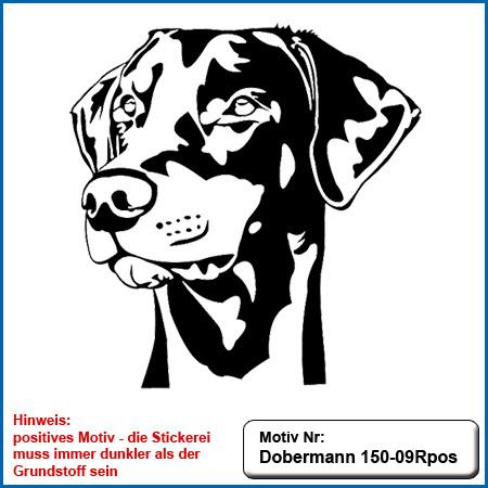 Hunde Motiv Dobermann Kopf Motiv gestickt Stickerei Dobermann gestickt Hundesport Bekleidung mit Dobermann besticken