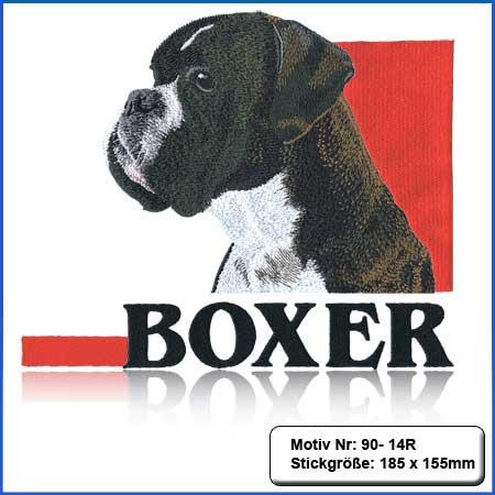 Hunde Motiv Deutscher Boxer gestromt gestickt Stickerei Boxer Kopf gestickt